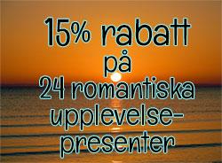 15% rabatt på romantiska upplevelsepresenter till Alla Hjärtans Dag
