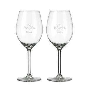 vinglas med gravyr